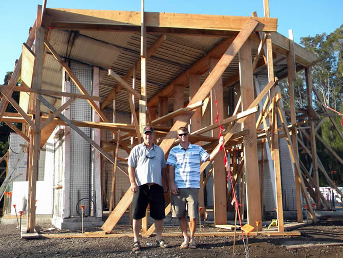 Rod Hadrian Sr. and Rod Jr. under roof #3, this part of the roof #3 cantilevers out approximately fifteen feet, the underside is all glass windows to pick up the spectacular view, all shoring will be removed after the concrete beams and columns are poured.