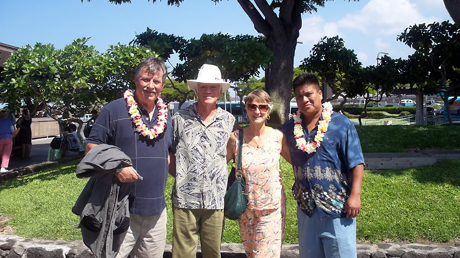 Dave and Sherry Pettus with Rod and Julio at the Kona Airport Nov. 2nd, 2009 Dave and Sherry are the owners, also not present are Jim and Terri Snugg also owners of the Hi'ilani Home.