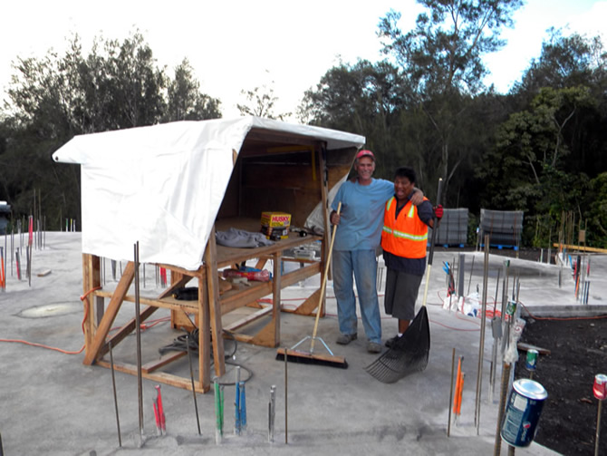 Our plan desk, Julio and Beau pose for photos, Julio with rake and Beau with the broom, we allow 15 minutes per day before leaving the job site to do all the clean up daily and prepare the areas for the next days work, all waste is placed in designated recycle trash bins.