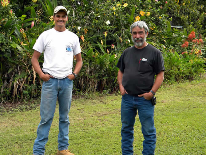 Sheldon Mattos and his uncle Leonard, Sheldon and his father Ernie are the electrical contractors and are from the Hilo area, they were a great help in transporting the Tridipanels which were shipped by Pasha Freight from San Diego to Hilo Hawaii, it was extremely hard getting them from Hilo up to the job site, here are some photos of this as it happened.