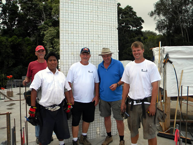Left to right, Beau Flack, Julio Nicolas, Rod Hadrian Sr., Robert Mechielsen, Rod Hadrian Jr. standing in front of the first Tridipanel stood on this project. Date Nov. 26, 2009