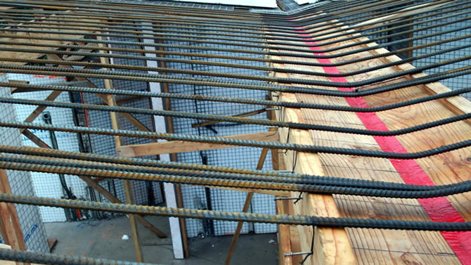 The rebar's are 14' feet long with seven feet extended in each direction, each Tridipanel is twelve feet in length, a total roof with twenty-four feet wide, the foam is removed 4