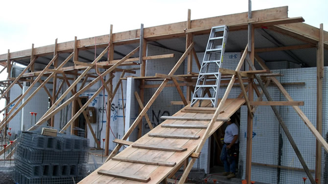Rod Jr. built this ramp to carry the roof panel up to the roof.