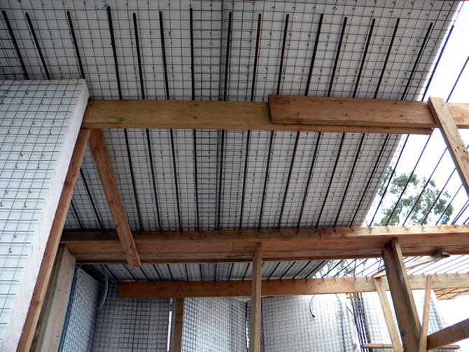 A view from below, the rebar is extended seven feet in each direction from the valley.