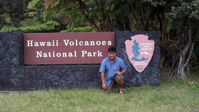 Julio Nicolas visiting the Hawaii Volcanoes Park, to see everything will take all day.