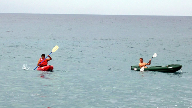 Rod Jr. and Julio in a kayak off the coast on the Kona side of the Island on our day off.