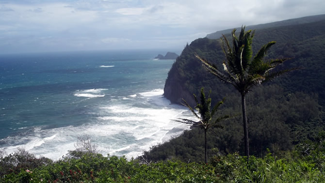 This is a view from Hawaii's rugged coastline; there is a trail, which goes down to the beach below, it's about a 30-minute hike.